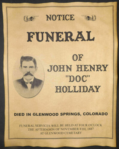 DOC HOLLIDAY FUNERAL & WYATT EARP WANTED POSTER 8X10 PHOTO OK CORRAL TOMBSTONE