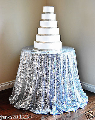 Sale Silver 48'' Round Sequin Table cloth Cover For Wedding/Event/Party/Banquet