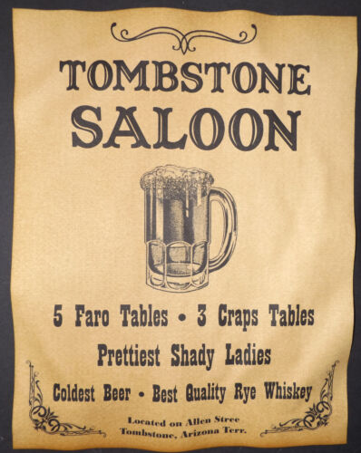Tombstone Saloon Ad Poster, old west, western, wanted