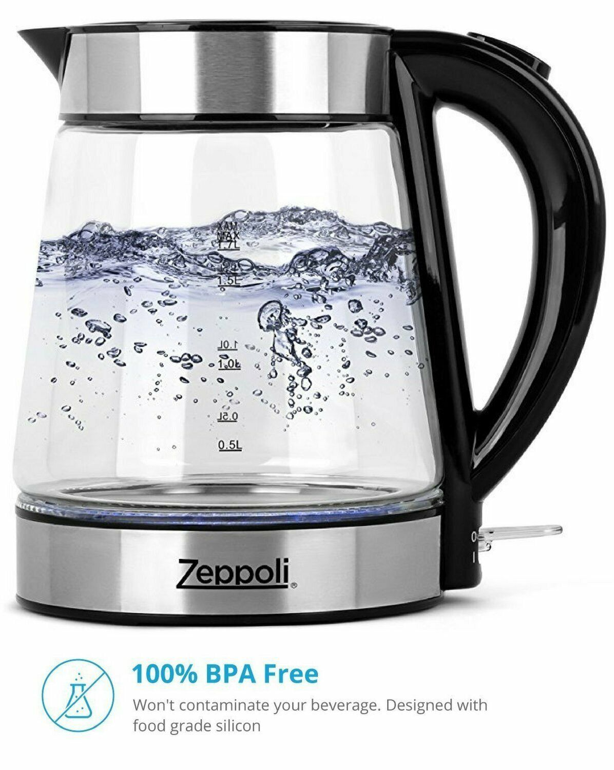 1.7L Fast Boiling and Cordless,Stainless Steel Finish-Hot Wa