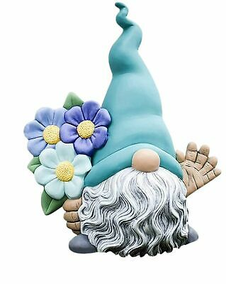 "Miniature Fairy Garden 4"" Light Blue Hat Gnome Holding Flowers - Buy 3 Save $5"