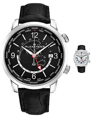 Alexander Journeyman Men's World-timer Swiss Made Watch Sapphire Crystal 40 (Swiss Made)