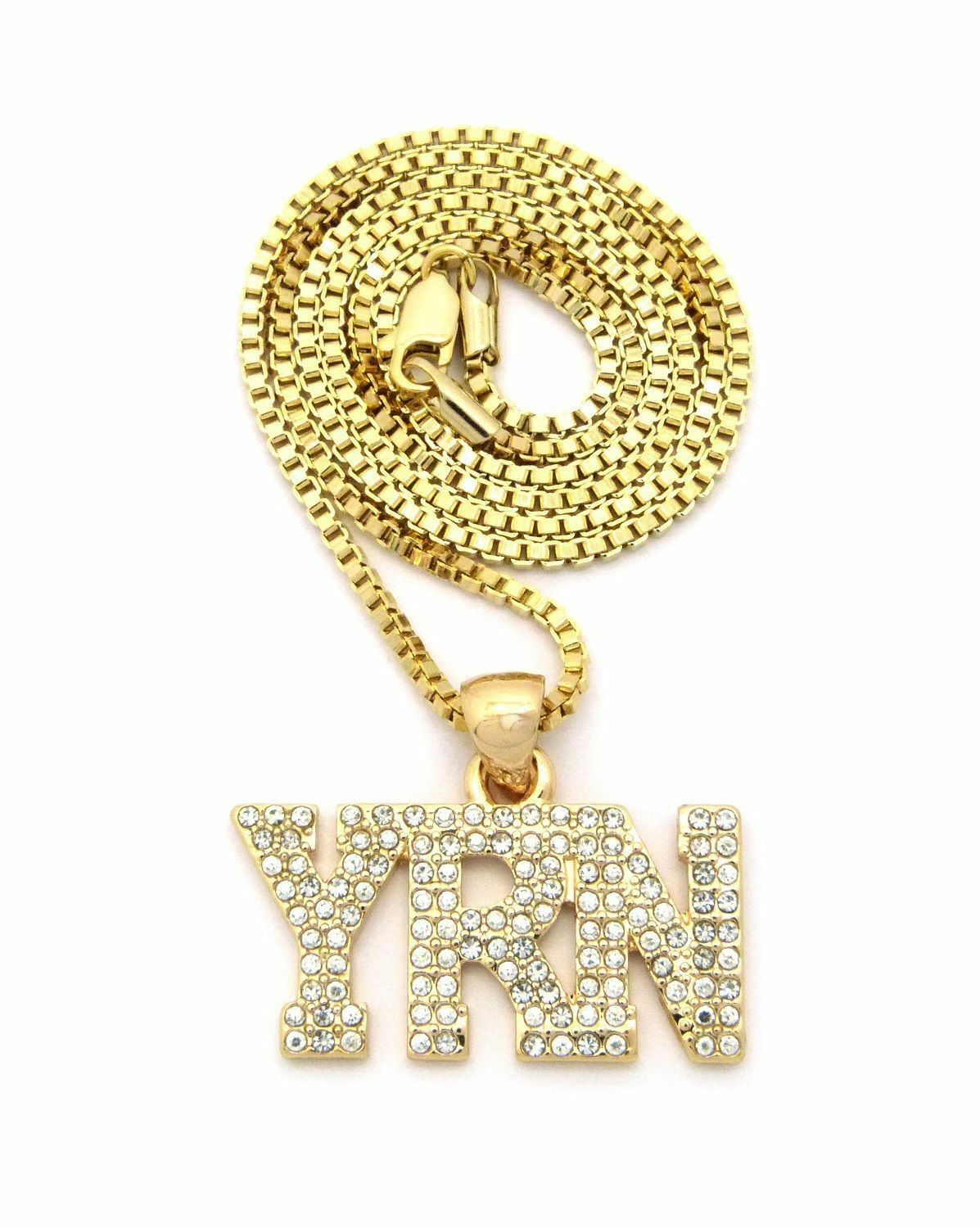 "Men's Iced Gold PT Hip Hop YRN CZ Pendant w/ 2mm 24"" Box"