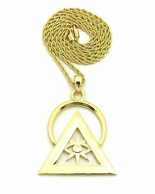 Mens Gold Pt Illuminati Pyramid Pendant W  24  Box  Cuban  Rope Chain Necklace