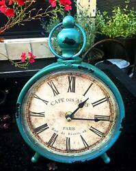 Shabby Chic Vintage Desk Clock Metal For Antique French Country and Farmhouse