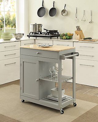 Kitchen Island Mobile Cart Table Butcher Block Cutting Board Top Cabinet Shelves