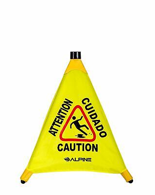Alpine Industries Yellow Caution Safety Cone 20 Pop-up Wet Floor Sign Portable