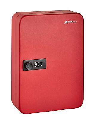 Adiroffice Red Steel 48 Key Secure Cabinet Combination Lock Key Storage Box