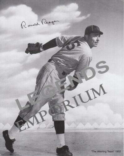 "RONALD REAGAN  8""X10""  BASEBALL  B&W  Autographed Photocopy REA-02"
