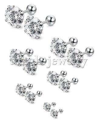 Women Men Stainless Steel White Cubic Zirconia Stud Earrings Screw Back Gift 2pc