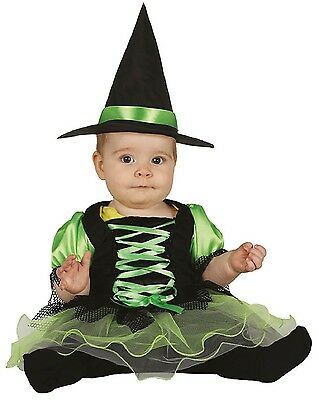 Baby Mädchen grün Tutu Hexe Halloween Kostüm 6-12 & 12-24 Monate