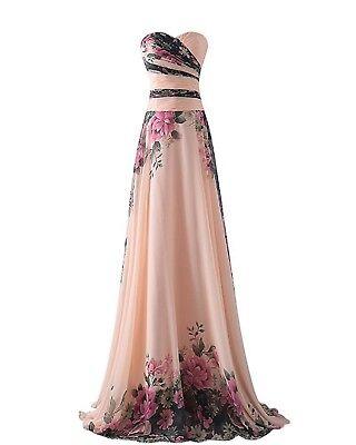 abito cerimonia da donna chiffon damigella vestito lungo elegante floreale
