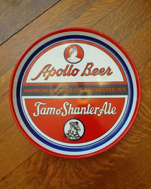 Apollo Beer American Brewing Co Rochester NY Tam O Shanter Ale Tin Tray Old