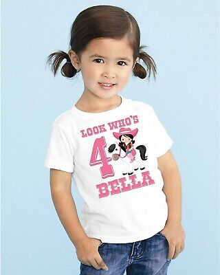 Personalized Birthday Pink Cowgirl Horse T Shirt For Kids Girls Youth Toddler - Cowgirl For Kids