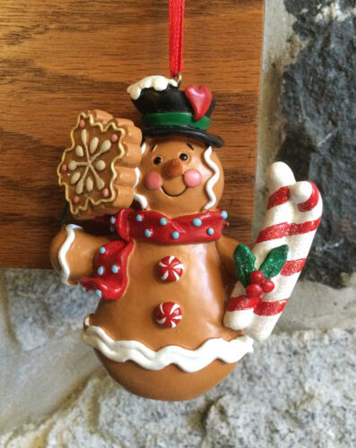Gingerbread Cookie SNOWMAN Christmas Ornament Snowflake Candy Cane Skis Frosting