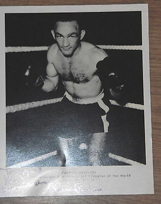 (Carmen Basilio Autographed Signed 8 x 10 Photo welter middle weight boxer champ)