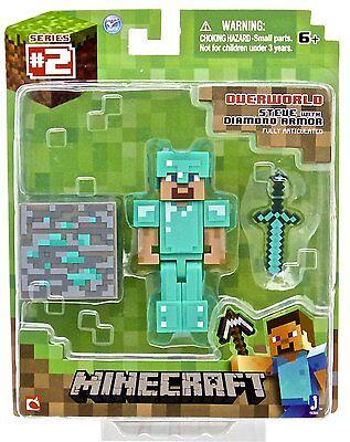 Minecraft Diamond Steve Action Figure   New  Free Shipping