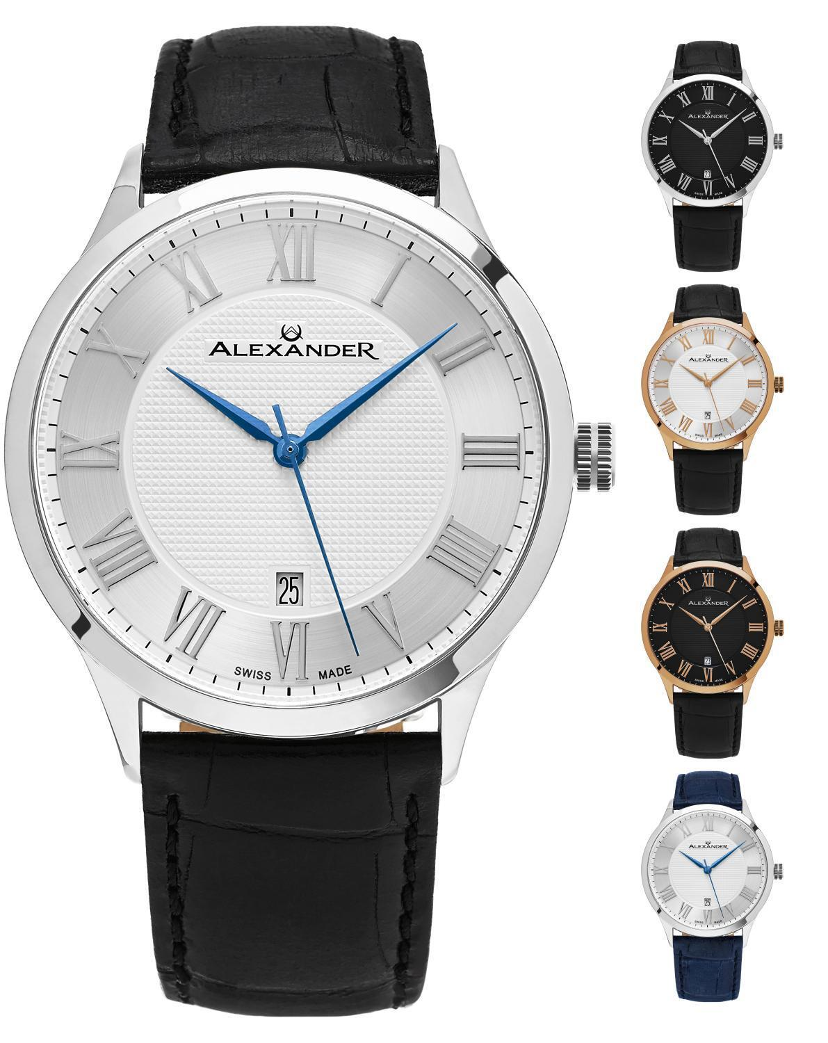 Alexander Swiss-Made Slim 9 mm Dress Men's Watch Leather Strap Sapphire Crystal