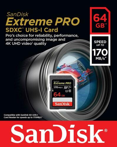 SanDisk 64GB Extreme PRO SD SDXC Card 170MB/s Class 10 UHS-1 U3 4K Memory V3 64G