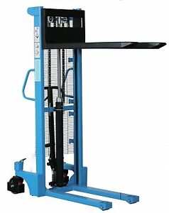 HAND STACKER 1.6M HIGH FORK LIFT PALLET TRUCK 1 TONNE MANUEL FORKLIFT LIFTING