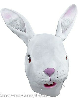 Mens Ladies White Rabbit Rubber Mask Animal Halloween Fancy Dress Costume Outfit (White Mask Halloween Outfit)