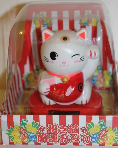 """4"""" Solar Powered Dancing Lucky Cat with Fish"""