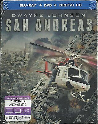 San Andreas   Dwayne Johnson  Blu Ray Disc  2 Disc Steelbook Digital Copy  New