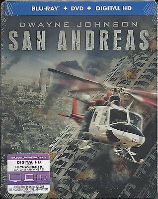 San Andreas   Dwayne Johnson  Blu Ray Disc  2 Disc Steelbook Digital Copy  New