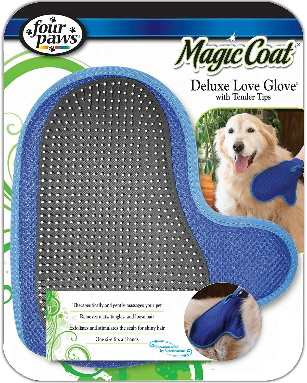Four Paws Magic Coat Dog Grooming Deluxe Love Glove With Tender Tips Brushes, Combs & Rakes