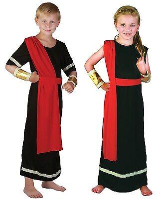 Mädchen/Jungen Schwarz Rot Römische Toga Schule Kostüm Kleid Outfit 4-14 jahre