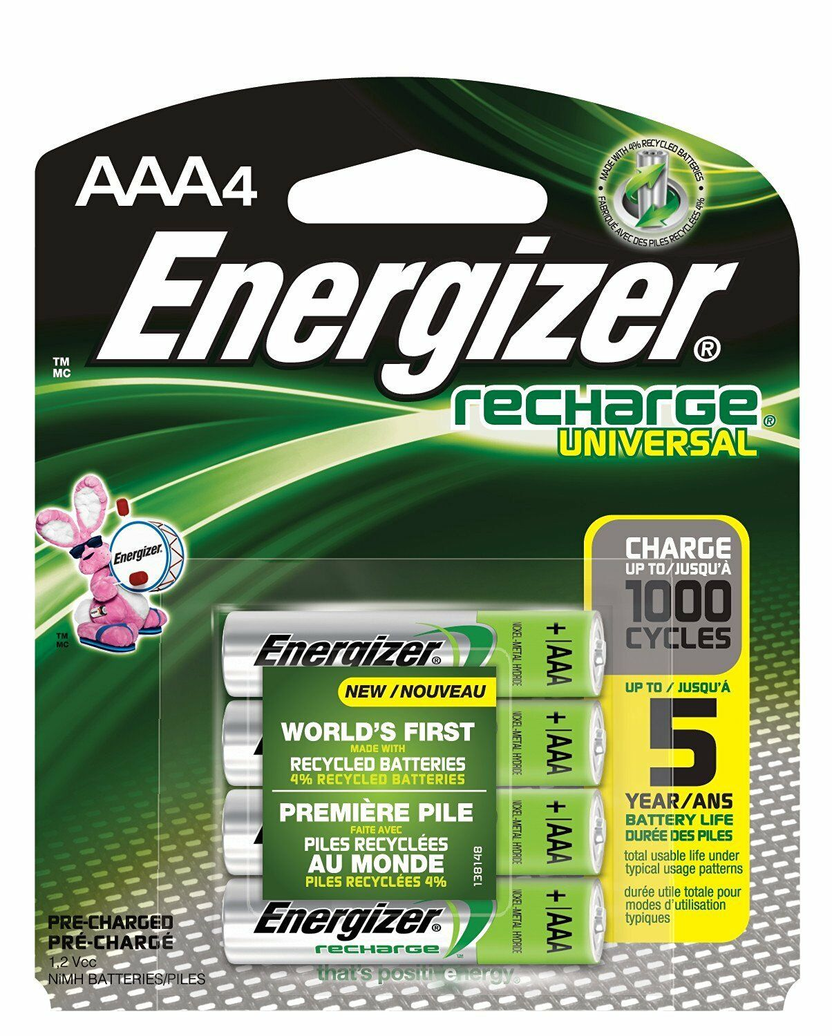 4/pack AAA Energizer Rechargeable NiMH Batteries EXP 2021 AAA4 Recharge