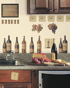 WINE TASTING WALL DECALS Grapes U0026 Bottles NEW Stickers Kitchen Decor  Decorations