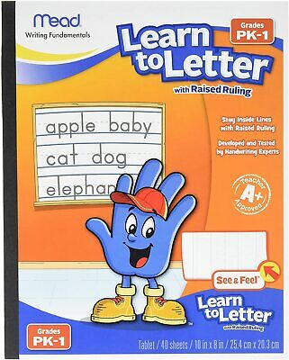 Mead Learn To Letter With Raised Ruling Writing Tablet 40 Sheets 8x10-brand New