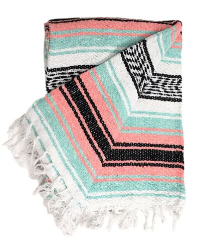 Mexican Blanket Mint Peach Black Serape Throw Mexican Yoga Boho Falsa Blanket XL