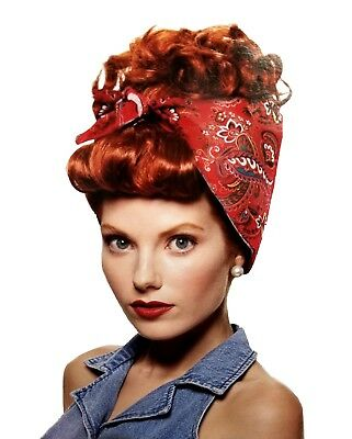 Rosie The Riveter Red Wig With Bandana Curly Updo Adult Costume I Love Lucy - Rosie Riveter Costume