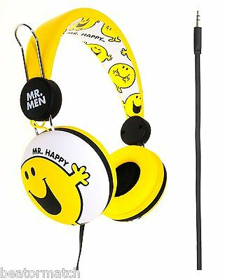 6 x JOB LOT Mr Men Happy Kids Children Stereo Headphones Tangle Free Flat Cable
