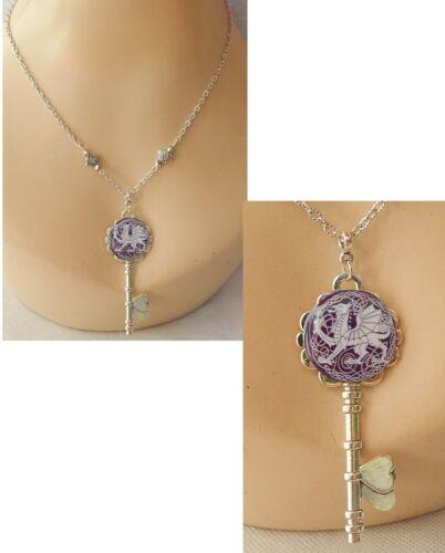 Dragon Necklace Key Pendant Silver Welsh Dragon Jewelry Handmade Chain Women
