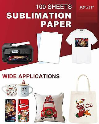 100 Sheets Sublimation Paper 8.5x11 For Inkjet Printer Epson Canon Heat Transfer