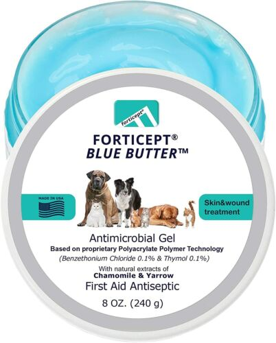 Forticept Blue Butter Antimicrobial Gel, Antiseptic Hydrogel Wound Treatment Dog
