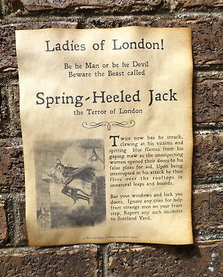Spring-Heeled Jack Warning Poster, Halloween Decor 8.5x11 party terror of London ()