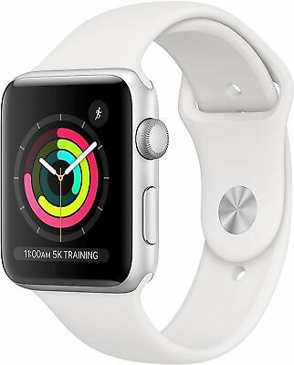 Apple Watch Series 3 42mm GPS Silver Aluminum - White Sport Band MTF22LL/A