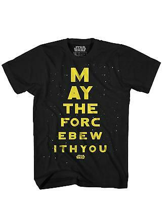 Star Wars May The Force Jedi Eye Chart Funny Adult Men's Graphic T-Shirt Tee - Star Wars Eye Chart