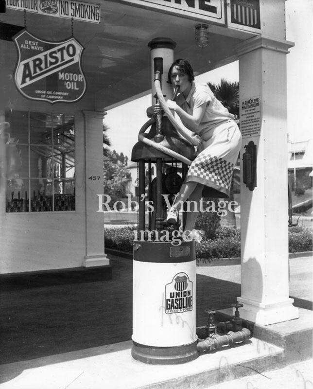 Vintage Union Aristo Oil Gas Service Station photo 1926 Crazy Flapper Girl