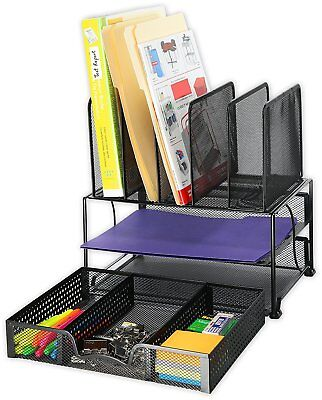Desk Organizer With Sliding Drawer Double Tray And 5 Upright Sections