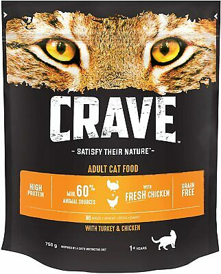Crave Dry Cat Food with Turkey & Chicken – High Protein & Grain-Free – 3 Pack
