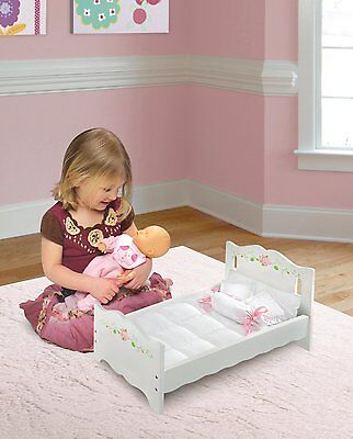 """Wooden Doll Bed 18"""" w/ Blanket 4 Pillows Mattress Bedding American Girl Play Toy"""