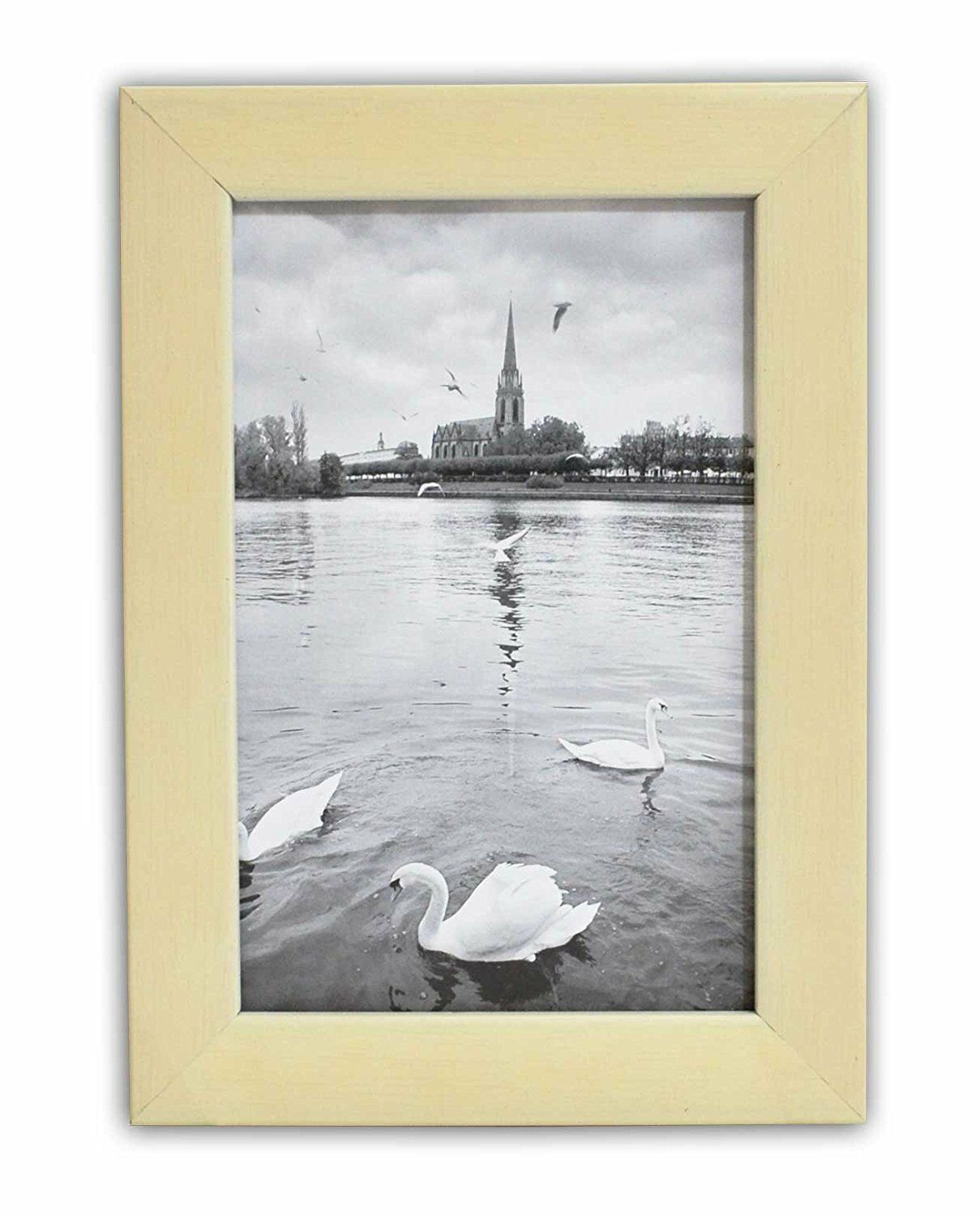 Golden State Art, 5x7 Cream Color Wood Swan Photo Frame with