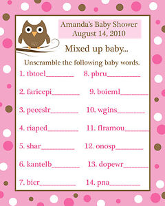 24 Baby Shower Word Scramble Game Cards Pink Baby Owl | eBay