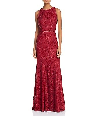 NEW JS COLLECTIONS Red Corded Floral Stretch Lace Racerback Mermaid Gown 0 XS