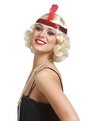 Blonde Curly Flapper Wig Feather Red Headband Womens Sequin Bob 20s 1920s Jazz